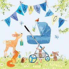 Congratulations For A Baby Boy Fiz5 New Baby Boy Card Woodland