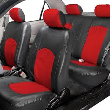 deluxe faux leather car seat covers sport top quality red for car suv 0