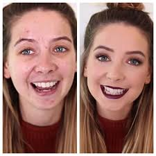 zoella with and without makeup this just shows what the power of makeup can do