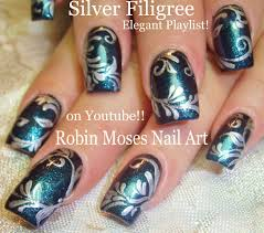 Nail Art Tutorial| DY Elegant filigree Nail Design | Dark blue and ...