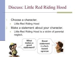 discuss character analysis begin our next summative assessment  discuss little red riding hood steps to character analysis 1