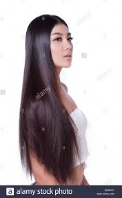 young lady and silky hair stock image