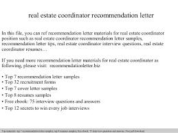 Real Estate Coordinator Recommendation Letter
