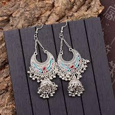 <b>TopHanqi</b> Gypsy Jewelry <b>Indian Jhumka</b> Long Small Bell Fringed ...