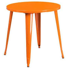 orange round metal outdoor bistro table orange green yellow red white