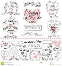 Wedding Decor Elements Set Labels Cards Invitations Outline Stock