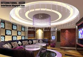 round ceiling pop design with led lighting for living room