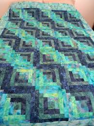 528 best Quilts - Pineapples & Log Cabins images on Pinterest ... & This beautiful quilt top was machine pieced, pressed, squared up and ready  to be quilted. We used 5 different blue, purple and jade tone batik fabrics. Adamdwight.com