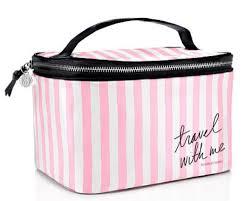 get ations victoria s secret train case stripe cosmetic case makeup travel case
