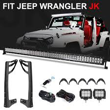 52 Inch Light Bar For Jeep Racbox 1 X 300w 52 Inch Offroad Light Bar 2 X 18w 4 Inch Pod Light With Windshield Mounting Brackets For Jeep Jk Wrangler 07 17