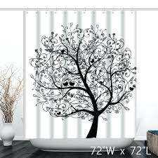 black tree shower curtain monochrome tree birds print bathroom shower curtain custom monochrome tree birds print