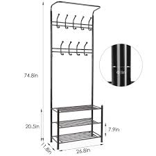 Heavy Duty Coat Rack With Shelf HOMFA Fashion Heavy Duty Garment Rack with Shelves 100Tier Shoes Rack 67
