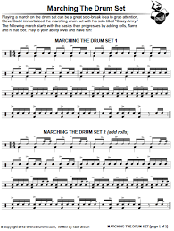 drum set sheet music marching the drum set sheet music onlinedrummer com