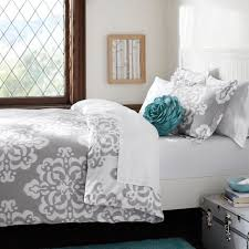 simple bedroom with gray fl print comforter sets and gray white bedding decor bedroom