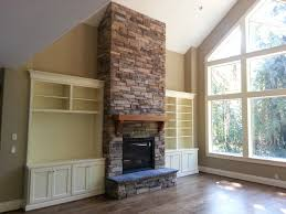 Fireplace Built Ins Fireplace New Construction Cultured Stone Raised Hearth Built