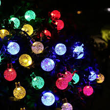 Outdoor Holiday Globe Lights Crystal Solar String Lights 20ft 30 Led Waterproof Outdoor
