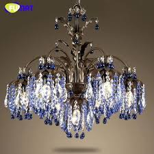 blue crystal chandelier iron candle living room bedroom hotel lamps modern earrings