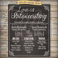wedding drink menu. Hand painted Bar Menu Drink Menu Signature Drinks Wedding