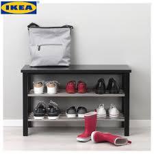 ikea tjusig black bench with shoe storage 81x50cm