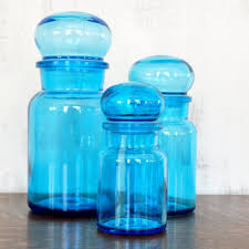 vintage blue glass jars peacock blue kitchen canisters bubble