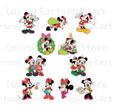 Mickey & Minnie on Christmas Svg, Eps, Dxf and Png formats - 11 Cliparts -  Digital Download in 2021   Christmas svg, Mickey and minnie svg, Minnie svg