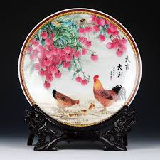 Modern Design Plates Us 31 0 50 Off Modern Art Rooster And Litchi Ceramic Ornamental Plate Chinese Style Decoration Plate Wood Base Chicken Porcelain Plate Set In Bowls