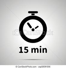 Timer Fifteen Minutes Fifteen Minutes Timer Simple Black Icon With Shadow