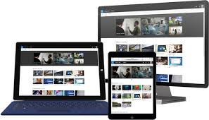 office pictures images. a tablet desktop pc and smartphone showing microsoft office 365 video pictures images