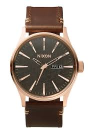 sentry leather men s watches nixon watches and premium accessories sentry leather rose gold gunmetal brown