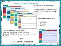 Menu Templates And Grocery Lists By 1 2 3 Learn Curriculum Tpt