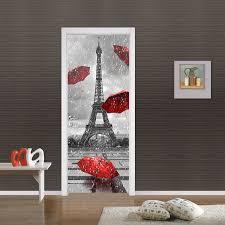 Eiffel Tower Home Decor Accessories Creative DIY 100D Door Stickers Eiffel Tower Rain Pattern Home Decor 58