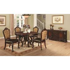 Pedestal Dining Table Set Coaster Benbrook 6pc Round Pedestal Dining Table Set In Dark
