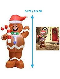 5ft Self-Inflatable Gingerbread Man with Candy Canes Perfect for Waving  Blow Up Yard Decoration