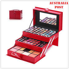 mixed makeup kit all in one eyeshadow palette lipgloss cosmetic set leather case