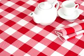 red gingham tablecloth round and white check plastic cloth