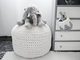 Black And White Pouf White Off White Pouf Large Crochet Pouf Ottoman Floor