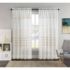 vcny lacie 55 x 90 inch embroidered curtain panel with attached valance