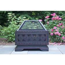 Global Outdoors 25 In W Brushed Bronze Steel Wood Burning Fire Pit In The Wood Burning Fire Pits Department At Lowes Com
