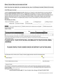 Sample Direct Deposit Employee Authorization Form