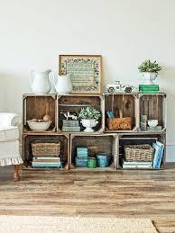 wooden crate storage shelf