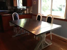 Rectangle Black Steel Top Dining Table With Rectangle Black Base Added By