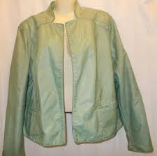 new chico s mint faux leather vest le winchester sage open front jacket size 3