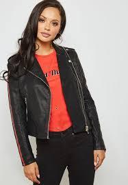 striped sleeve leather look biker jacket