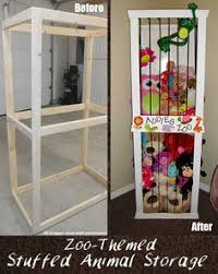 You could probably recycle an old curio cabinet- remove glass, add bungee  cords, paint and your done - zoo themed stuffed animal storage DIY idea!
