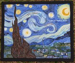 Quilts of a Feather: Blogger's Quilt Festival: Starry Night & Starry Night mini quilt, measures 8