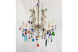 3 5 arm marie therese chandelier with multi coloured drops and swags photo 1