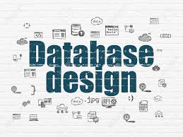 Database Design And Programming Database Concept Painted Blue Text Database Design On White