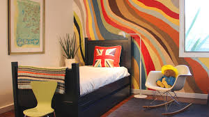 Decorations:Captivating Kids Room Interior With Black Twin Bed And Colorful Wall  Painting Idea Captivating