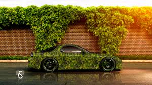 mazda rx7 green grass car