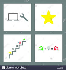 Spanner Chart Vector Icon Concept Set Spanner And Laptop Star Shape